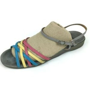 Vintage Famolare Size 9.5 Colorful Rainbow Wavy So
